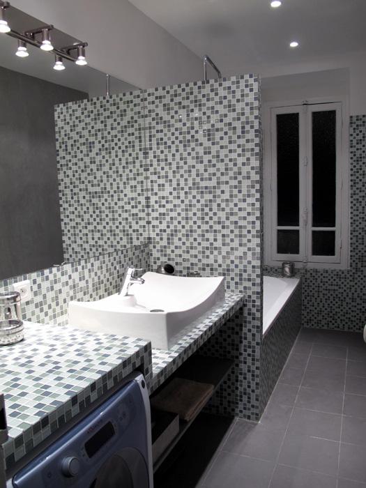 salle de bain carrelage p te de verre sophie levitte. Black Bedroom Furniture Sets. Home Design Ideas