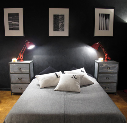 chambre industrielle d co sophie levitte. Black Bedroom Furniture Sets. Home Design Ideas