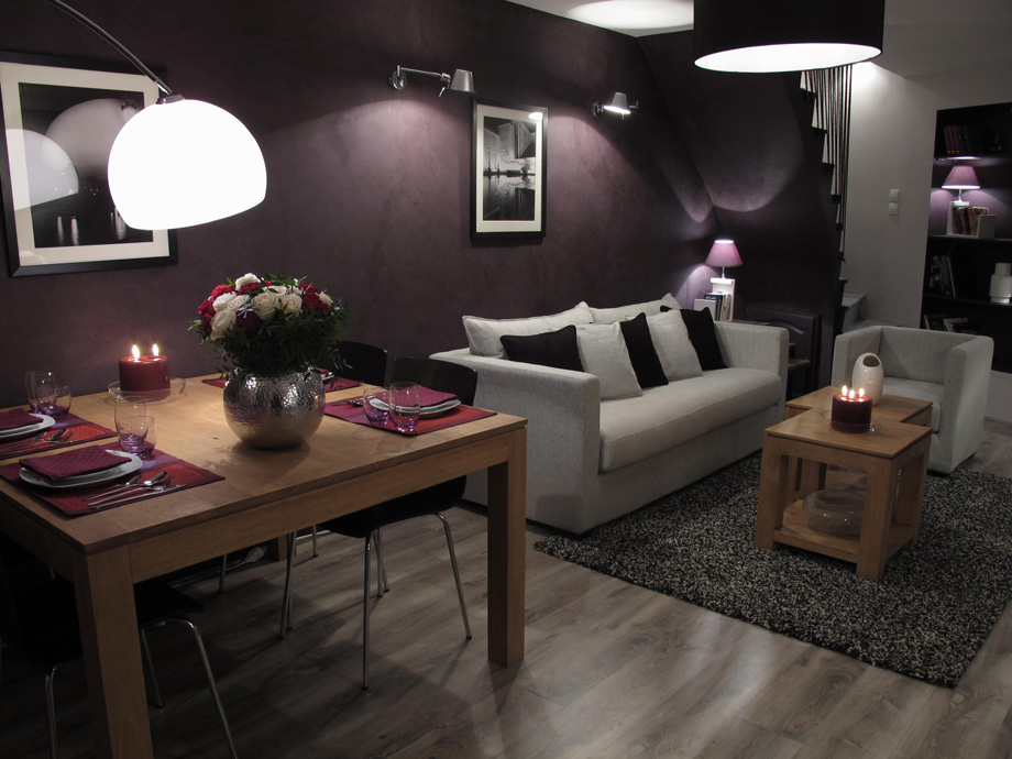 s jour salle manger cosy effet beton prune d co sophie levitte. Black Bedroom Furniture Sets. Home Design Ideas