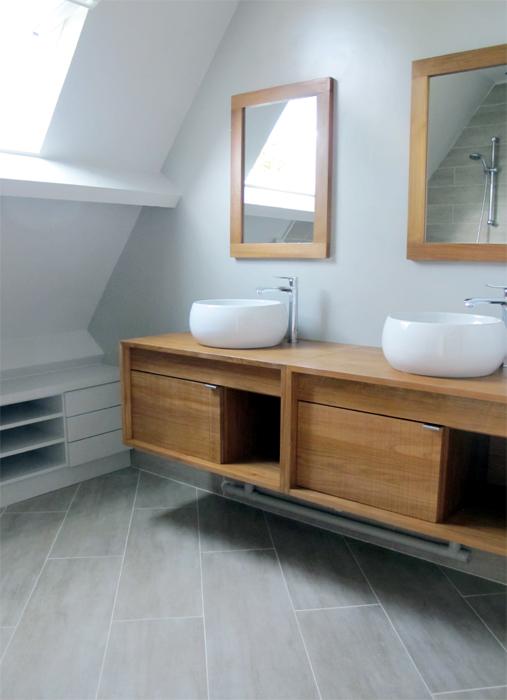 Salle de bain bois carrelage imitation bois   sophie levitte